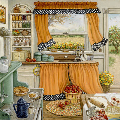 Painting - Pie Baking Day by Janet  Kruskamp