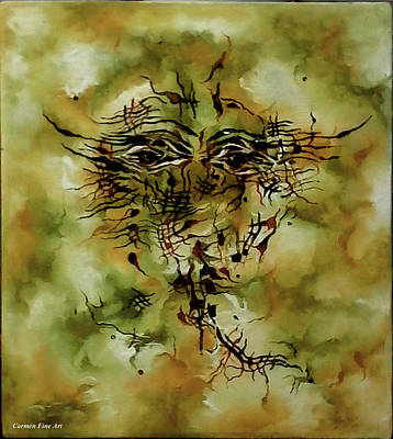Green Painting - Piece With Spirit by Carmen Fine Art