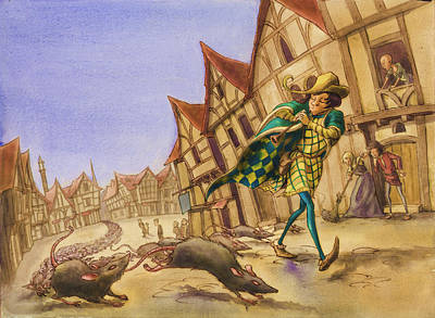 Pied Piper Rats Art Print by Andy Catling