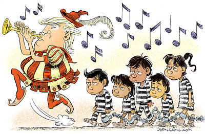 Drawing - Pied Piper Trump And Infestation by Daryl Cagle