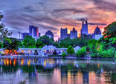 Photograph - Piedmont Park Sunset Reflections Art by Reid Callaway
