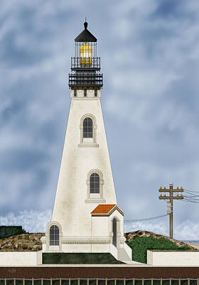 Painting - Piedras Blancas Lighthouse In California by Anne Norskog