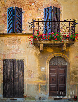 Tuscany Italy Photograph - Pienza Balcony by Inge Johnsson