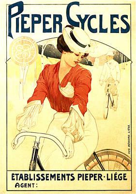 Mixed Media - Pieper Cycles - Bicycle - Vintage Advertising Poster by Studio Grafiikka