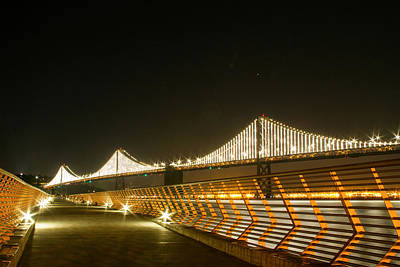 Photograph - Pier 14 And Bay Bridge Lights by Bonnie Follett