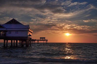 Pier 60 Clearwater Florida At Sunset Print by Bill Cannon