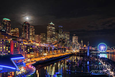 Skylines Royalty-Free and Rights-Managed Images - Pier 66 Full Moon Rising Over Seattle by Mike Reid