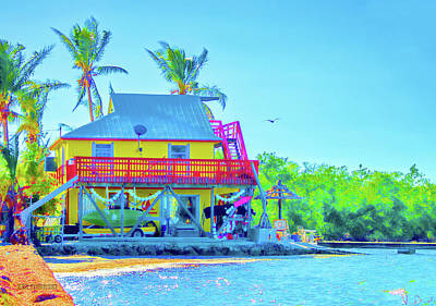 Ocean Sunset Mixed Media - Pier 68 Boat Rental Layton Florida Colorful Art by Ken Figurski