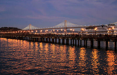 Photograph - Pier 7 And Bay Bridge Lights At Sunset by Bonnie Follett