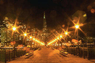 Photograph - Pier 7 At Night With Bokeh Lights by Bonnie Follett