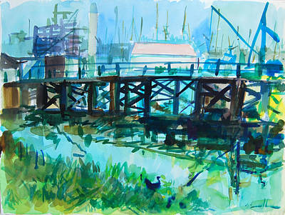 Painting - Pier And Harbor by Zolita Sverdlove