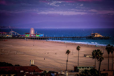 Photograph - Pier And Purple Haze - Santa Monica Pier by Gene Parks