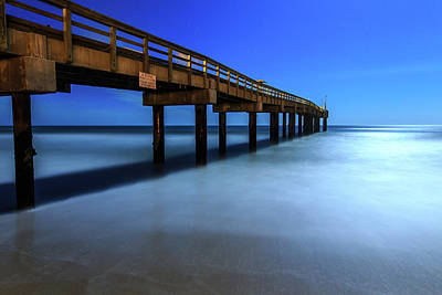 Photograph - Pier At Full Moon by Stefan Mazzola