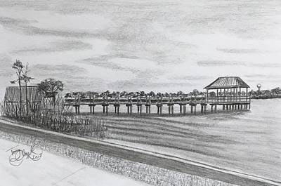 Drawing - Pier At Goose Creek  by Tony Clark