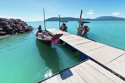 Longtail Wall Art - Photograph - Pier At Khanom by Atiketta Sangasaeng