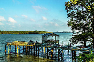 Photograph - Pier At Moon Lake - Landscape by Barry Jones