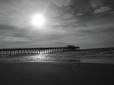 Photograph - Pier At Myrtle Beach In Black And White by Kelly Hazel