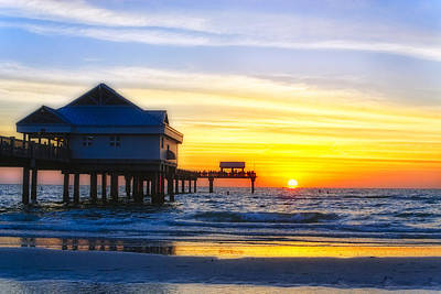Pier  At Sunset Clearwater Beach Florida Art Print