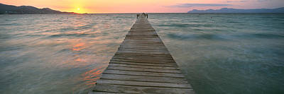 Majorca Photograph - Pier At Sunset In The Sea, Alcudia by Panoramic Images
