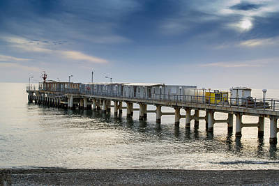 Pier At Sunset Art Print by John Williams