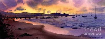 Art Print featuring the painting Pier At Sunset by Sergey Zhiboedov
