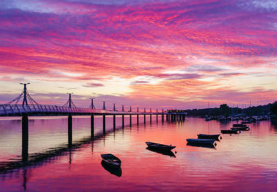 Photograph - Pier, Boats And Red Sunset by Dmytro Korol