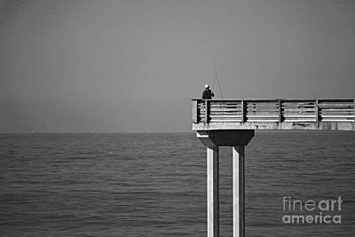 Photograph - Pier Fisherman Bw by Bob Brents
