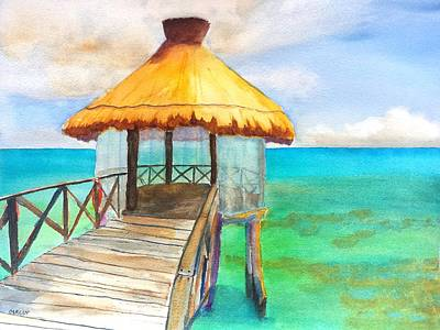 Painting - Pier Gazebo At Mayan Palace by Carlin Blahnik CarlinArtWatercolor