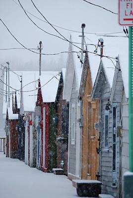Pier Houses In January 2010 Art Print by Joseph Duba