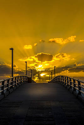 Pier Into The Rays Art Print by Marvin Spates