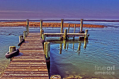 Wooden Platform Photograph - Pier Near Wallops Island by Tom Gari Gallery-Three-Photography