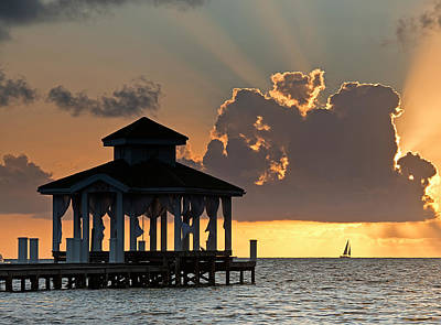 Palapas Wall Art - Photograph - Pier Palapa And Distant Sailboat by Panoramic Images