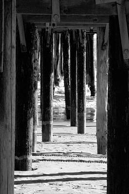 Photograph - Pier Posts Bw by Gary Brandes