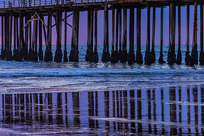Pismo Beach Photograph - Pier Posts Reflections by Garry Gay