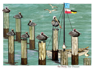 Art Print featuring the painting Pier Pressure by Anne Beverley-Stamps
