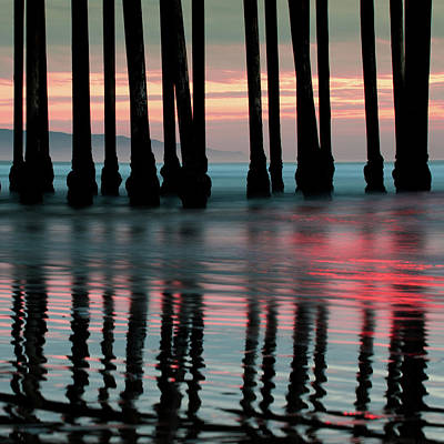 Art Print featuring the photograph Pier Reflections - Ocean Sunset - California  by Gregory Ballos