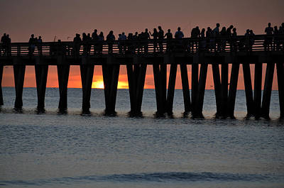 Naples Pier Photograph - Pier Silhouettes by Kelly Wade