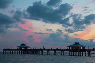 Photograph - Pier Sunset At Fort Myers Beach by Janice Adomeit