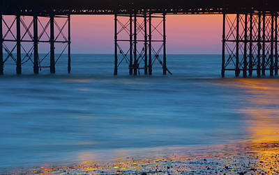 Photograph - Pier Supports At Sunset I by Helen Northcott