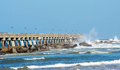 Photograph - Pier Surf by Kenneth Albin