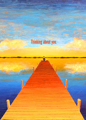 Painting - Pier - Thinking - Greeting Card by Thomas Blood