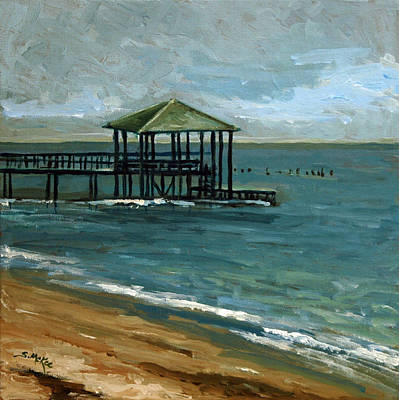 Painting - Pier With The Green Roof by Suzanne McKee