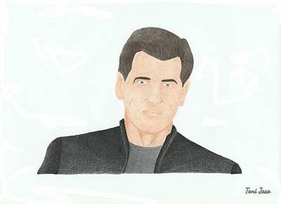 Pierce Brosnan Drawing - Pierce Brosnan by Toni Jaso