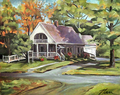 Painting - Piermont Public Library In New Hampshire by Nancy Griswold