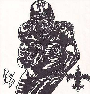 New Orleans Saints Drawings Drawing - Pierre Thomas by Jeremiah Colley
