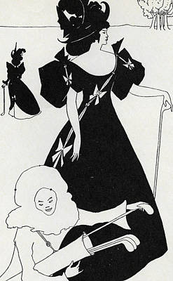 Pen And Ink Drawing Painting - Pierrot As Caddie by Aubrey Beardsley