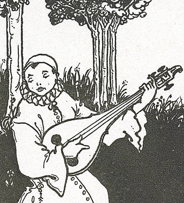 Lute Drawing - Pierrot by Aubrey Beardsley