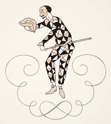 Checkered Drawing - Pierrot by Georges Barbier