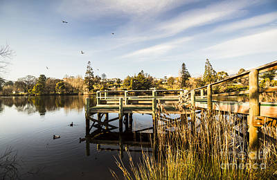 Wooden Platform Photograph - Piers And Peaceful Blue Waters by Jorgo Photography - Wall Art Gallery