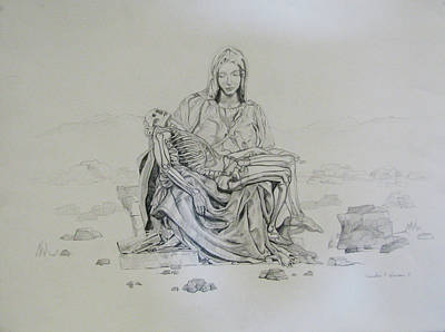 Drawing - Pieta by Art Nomad Sandra  Hansen
